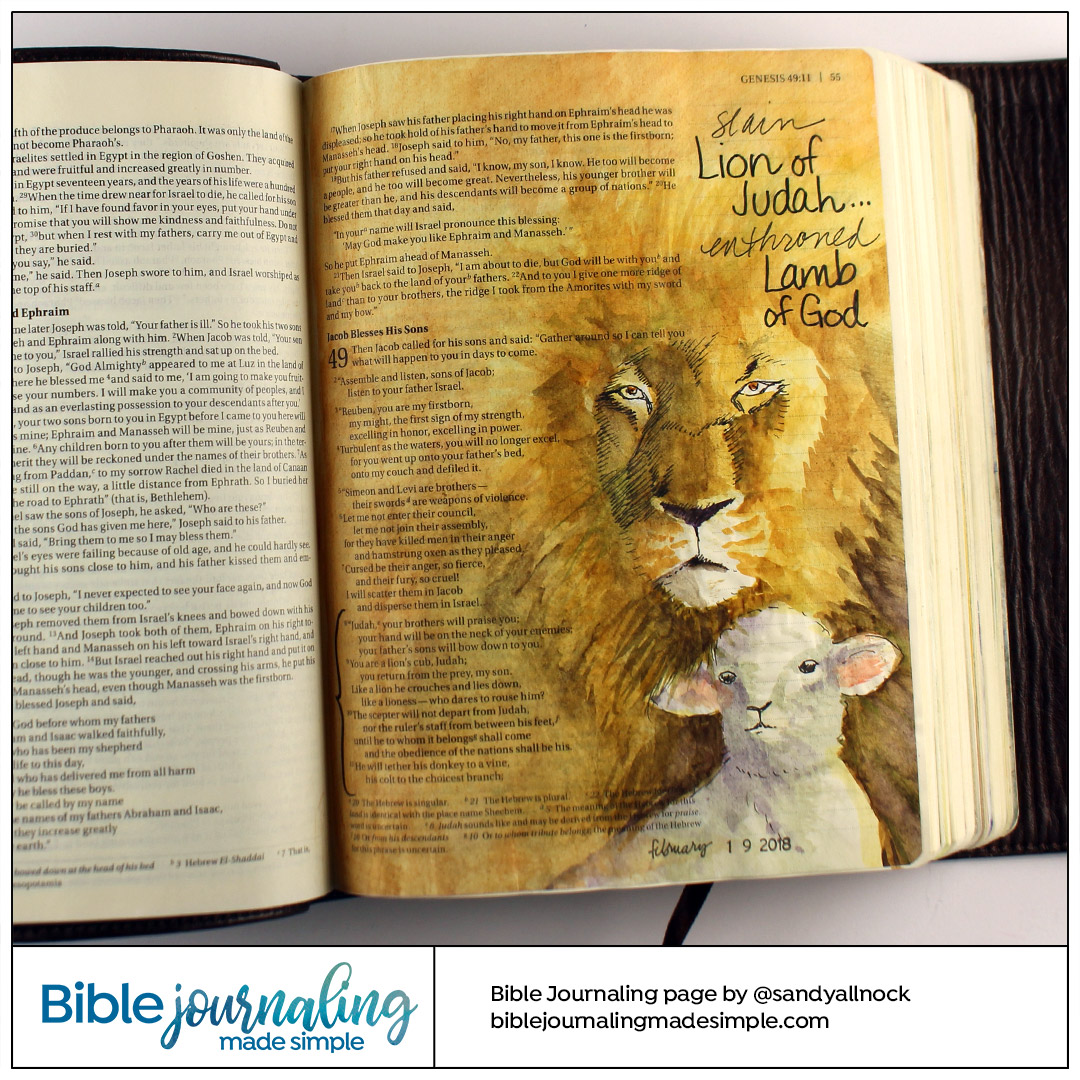 Bible Journaling Genesis 49 Lion and Lamb