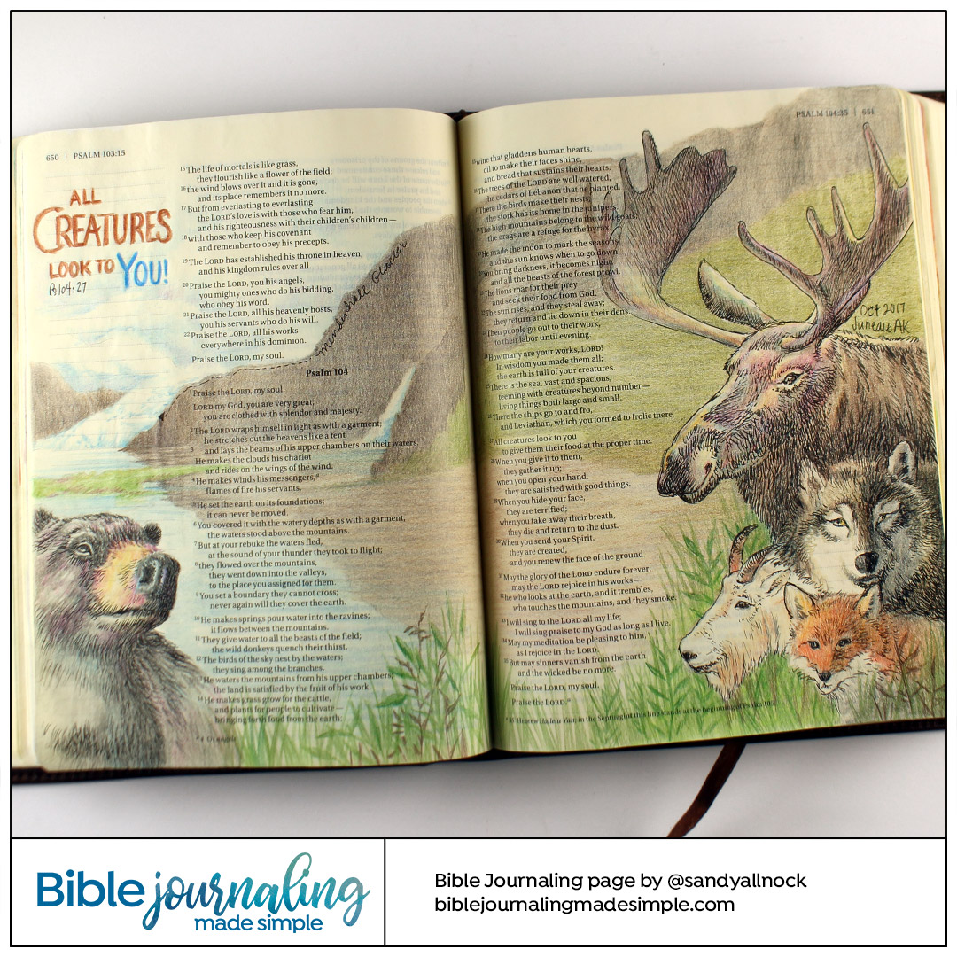 Bible Journaling Psalm 104:27 All Creatures Look To You