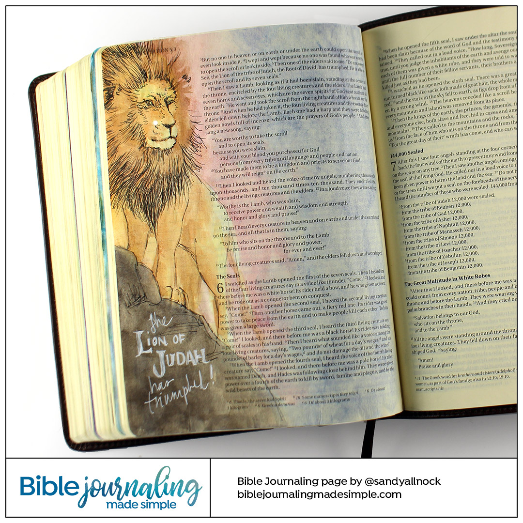 Bible Journaling Revelation 5:5 Lion of Judah has triumphed