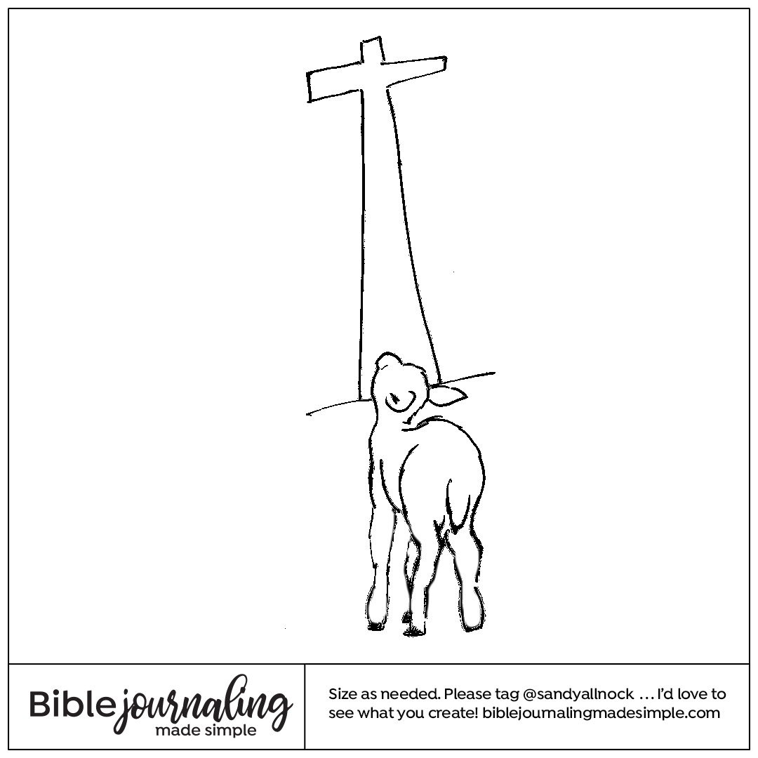 Downloadable sketch of sheep with cross