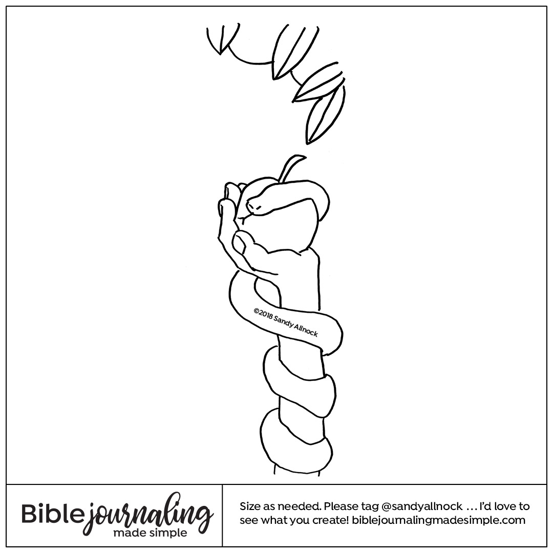 Downloadable sketch of hand wrapped in snake holding apple