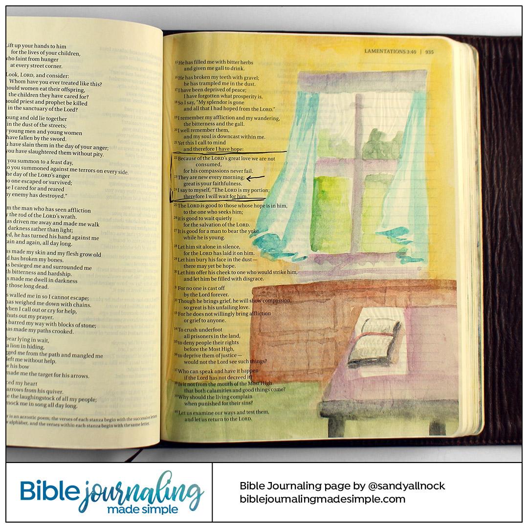 Bible Journaling Lamentations 3:22-23 Morning breeze