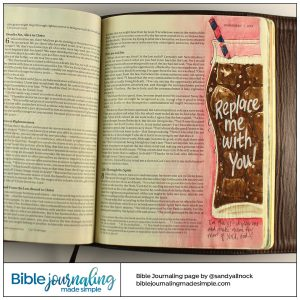 Bible Journaling Romans 8:9-10 Glass of coke