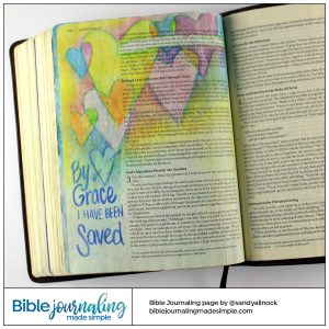 Bible Journaling Ephesians 2:4-5 Hearts Saved by Grace