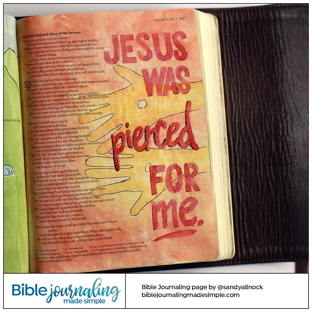Bible Journaling Isaiah 53:5 Pierced for me