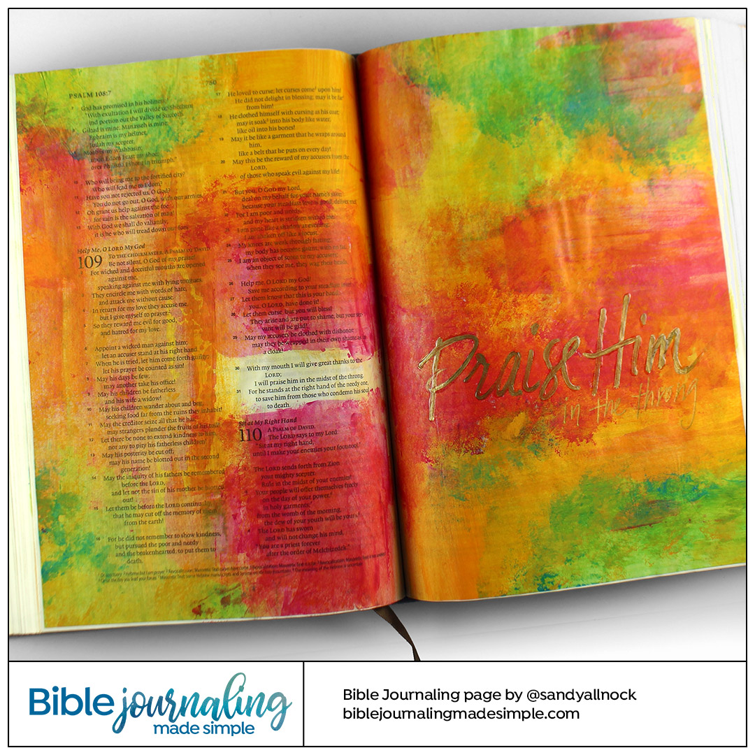 Bible Journaling Psalm 109:30-31 Praise Him