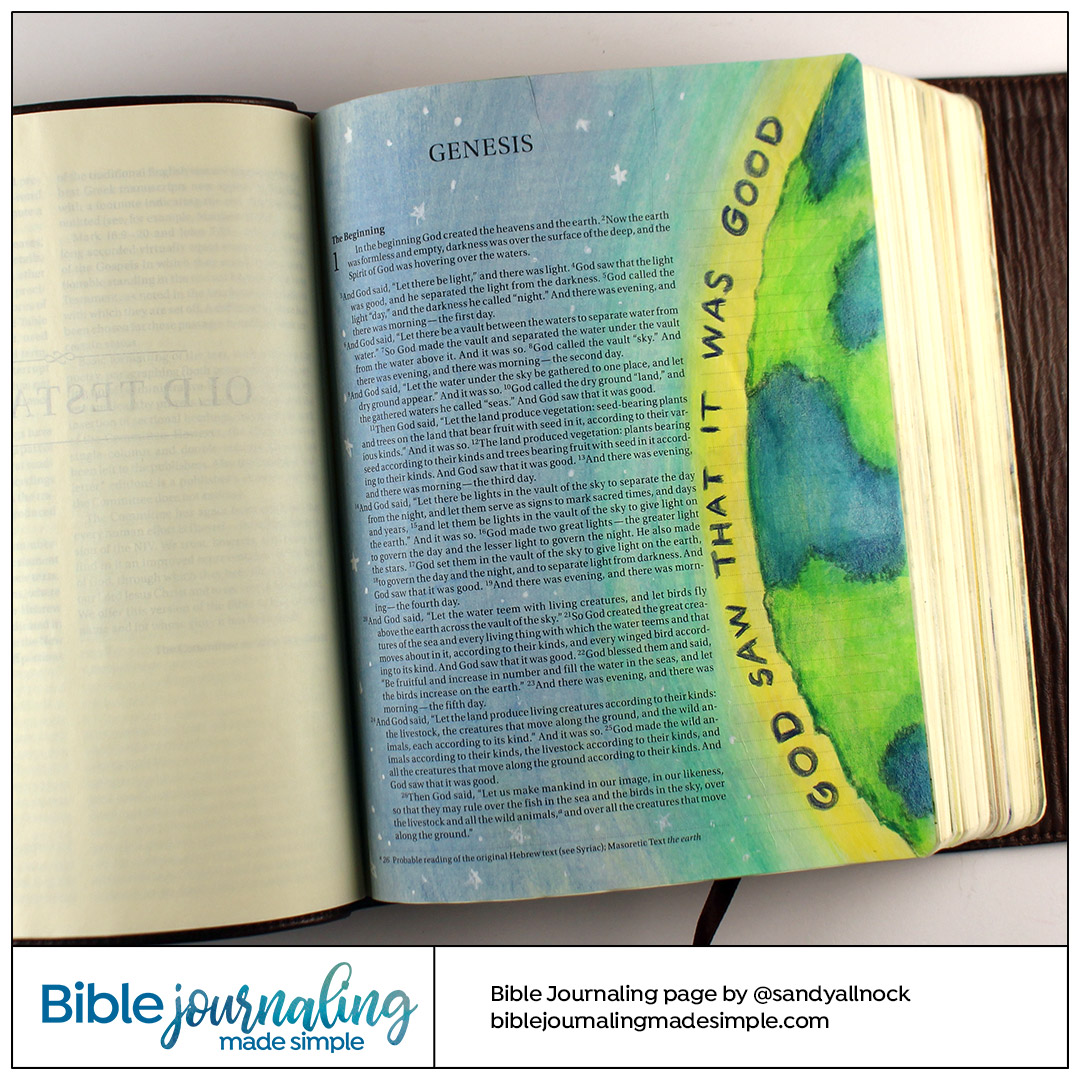 Bible Journaling Genesis 1:10 It was Good