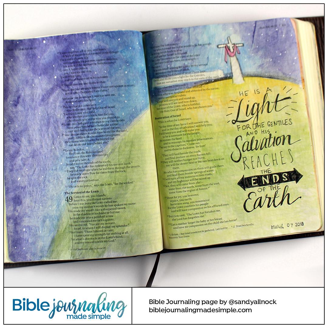 Bible Journaling Isaiah 49:6 Globe and cross