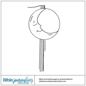 Downloadable Sketch of moon and corner of book