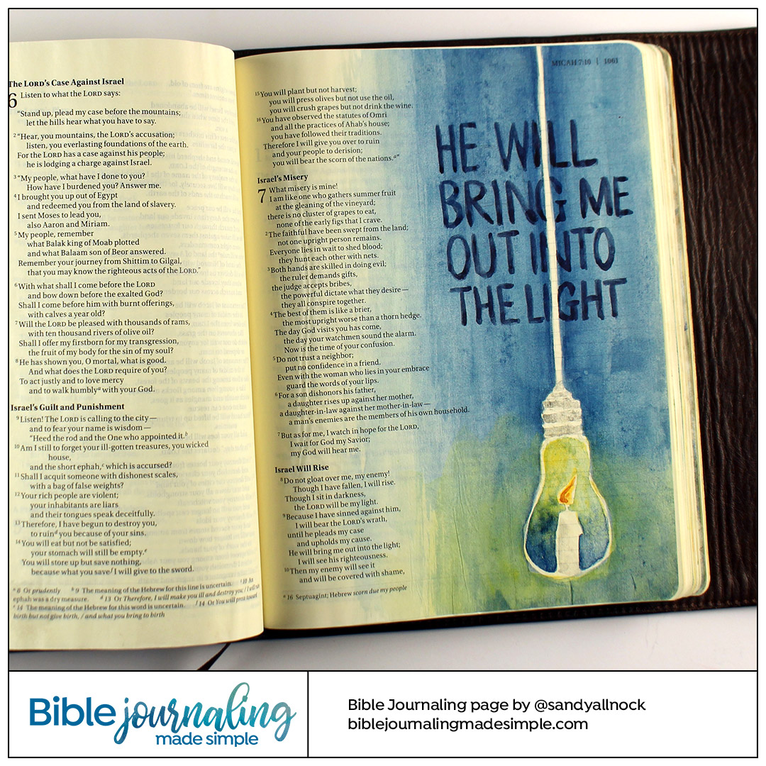 Bible Journaling Micah 7:8 Candle Bulb