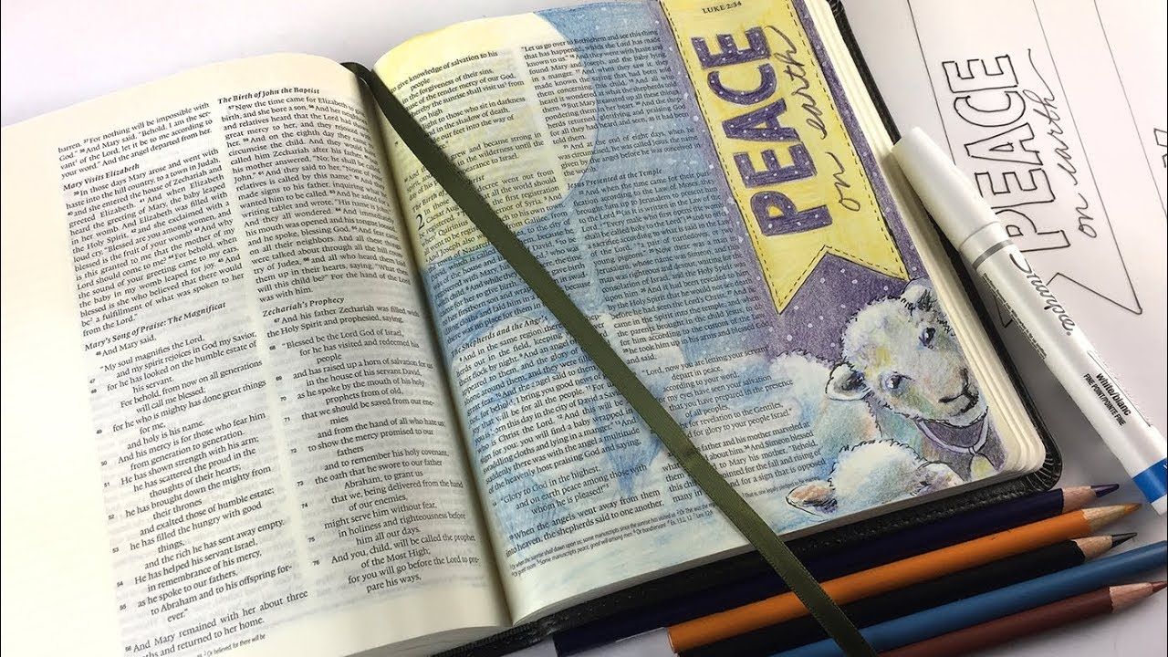 Bible Journaling Luke 2:14, 2nd Sunday of Advent, Peace