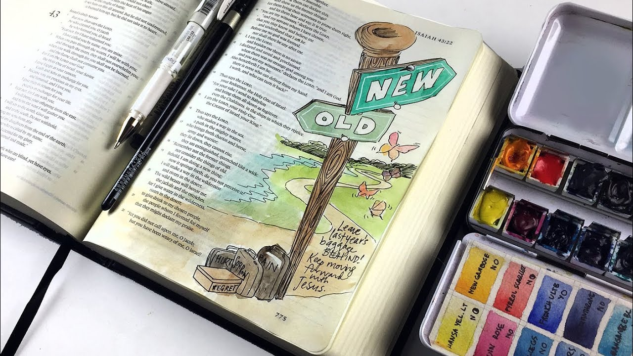 Bible Journaling Isaiah 43:18-19 - Leave old baggage behind!