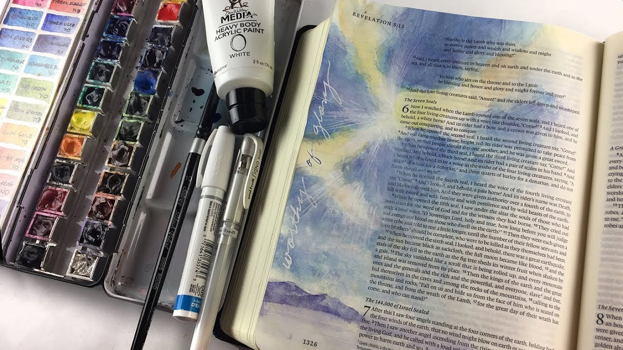 Bible Journaling Rev 5:12 Watercoloring God-Rays