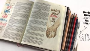 Bible Journaling 1 John 4:12 in The Illustrators Notetaking Bible