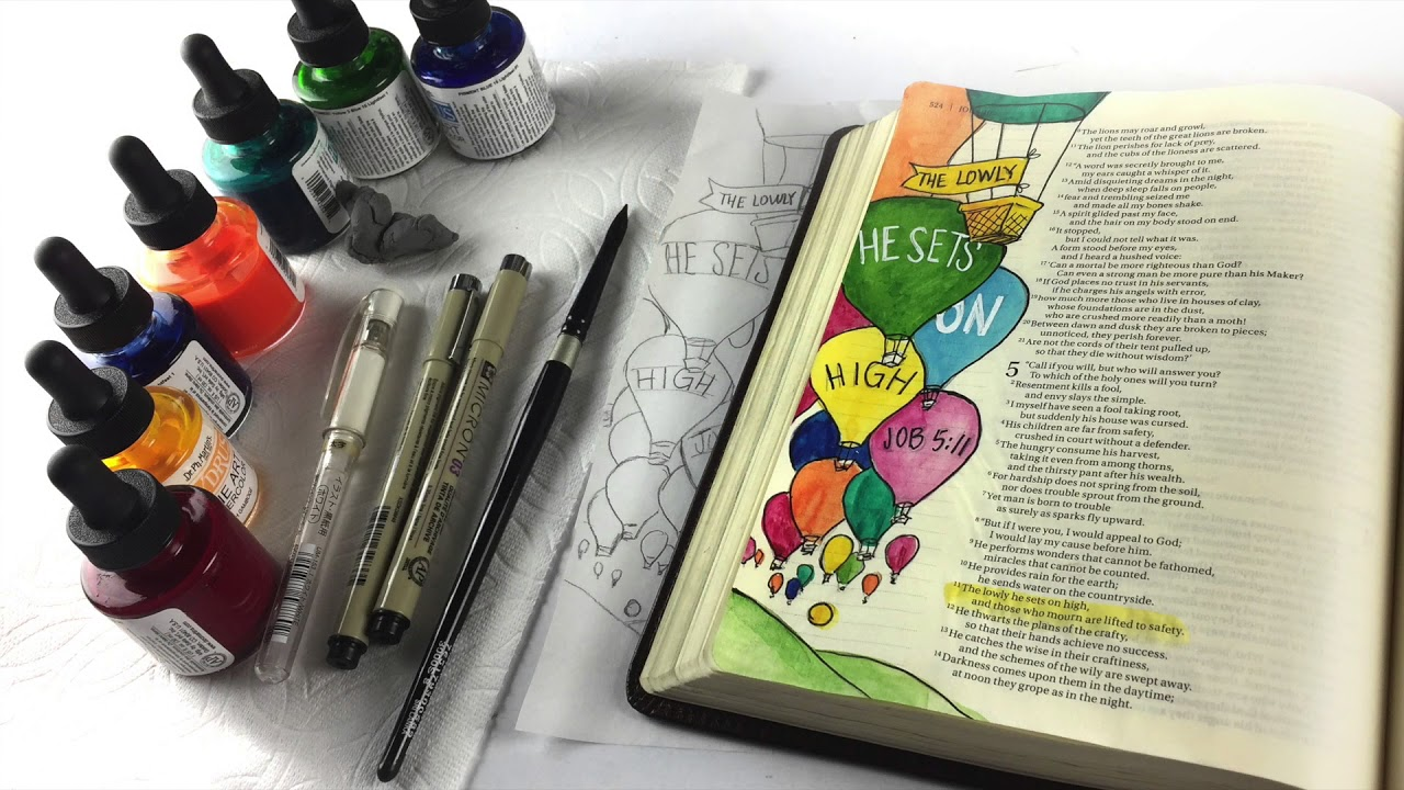 Bible Journaling Job 5:11- The Lowly Set on High, Hot Air Balloons