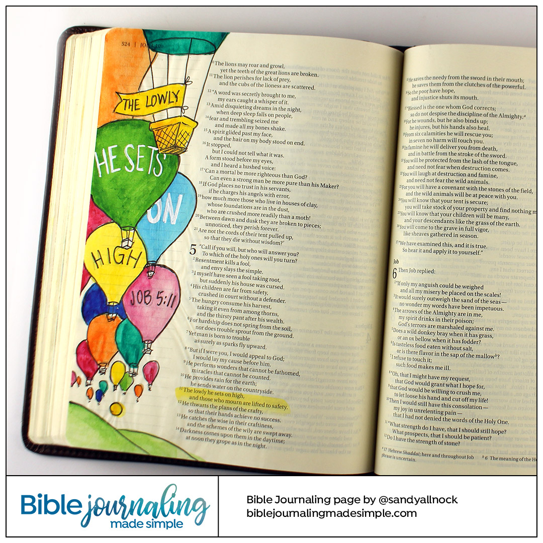 Bible Journaling Job 5:11 Lowly set on high