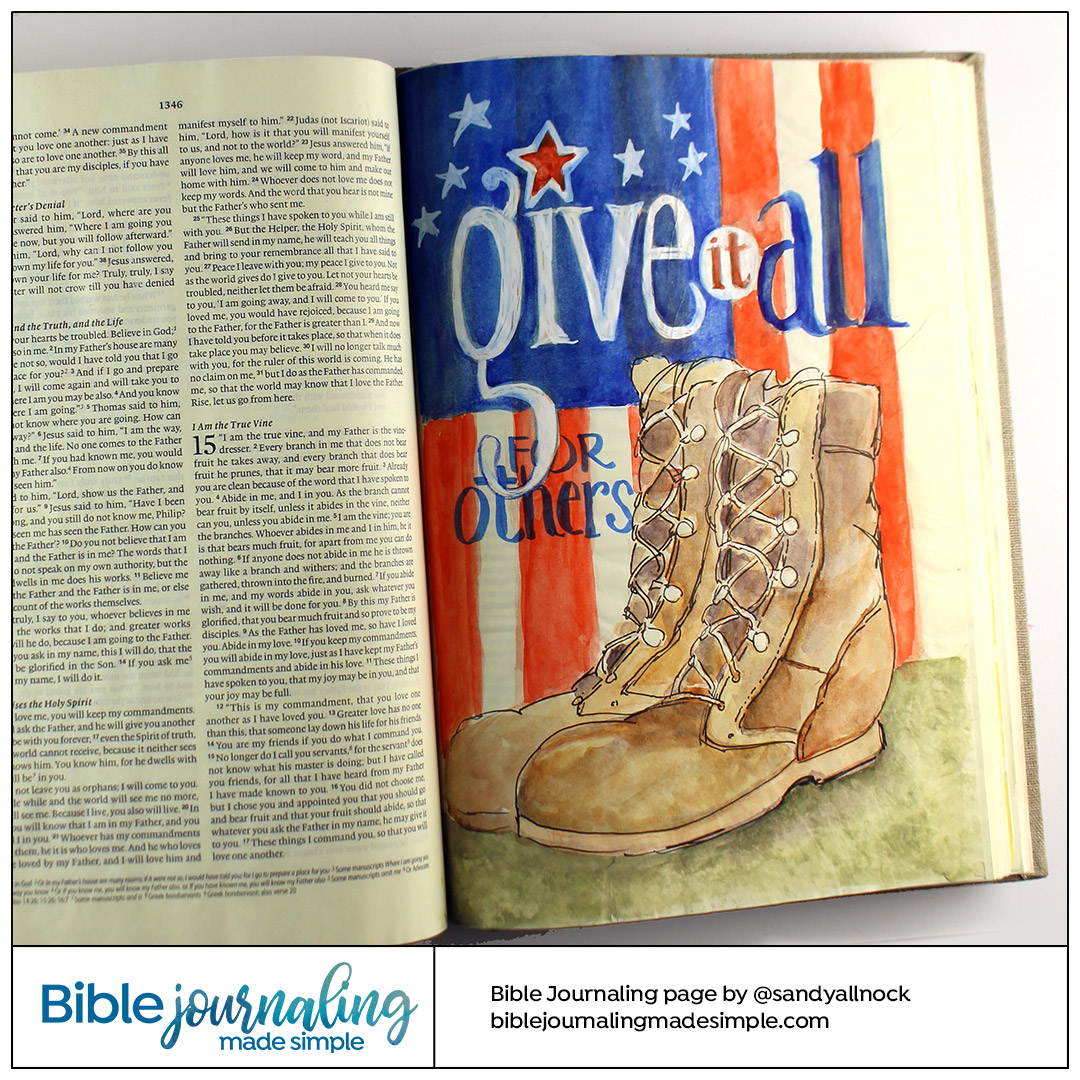 Bible Journaling John 15:13 Give it All - military boots
