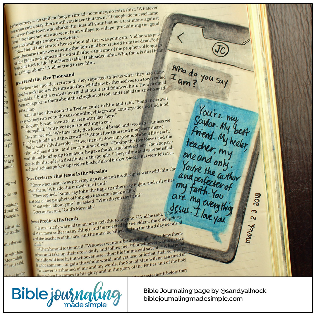 Bible Journaling Luke 9: 20 Text Chat