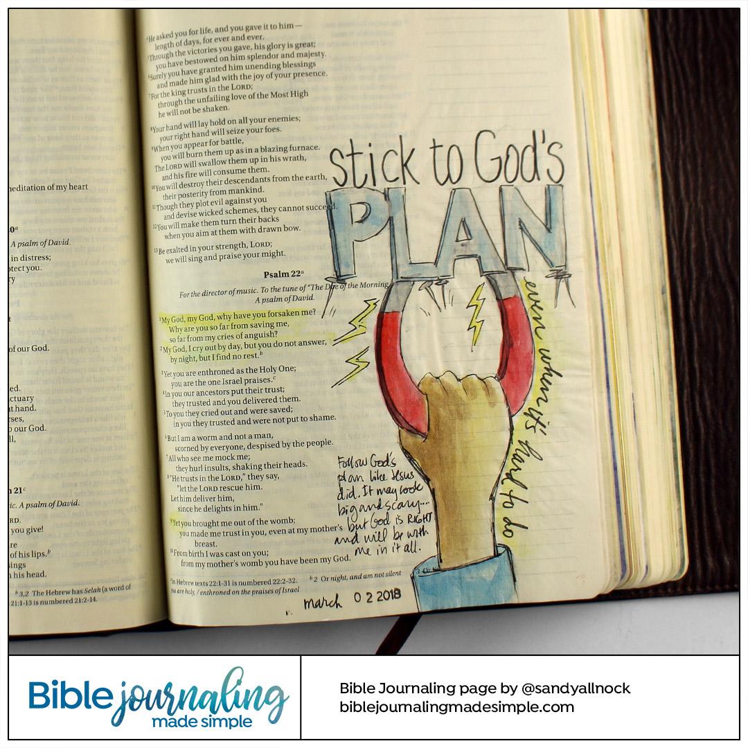 Bible Journaling Psalm 22:1 Stick like a magnet