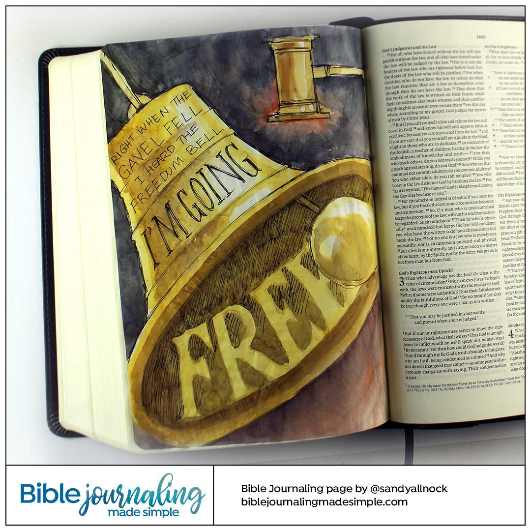 Bible Journaling Romans 6:6-7 Bell of Liberty