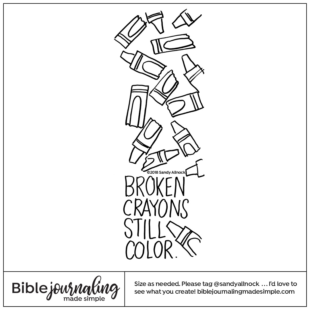 Downloadable Sketch of broken crayons