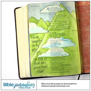 Bible Journaling Isaiah 52:7 Beautiful Mountains