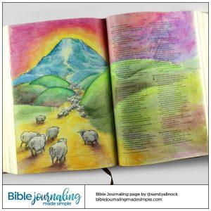 Bible Journaling Micah 4:6-7 Sheep gathering at Mount Zion