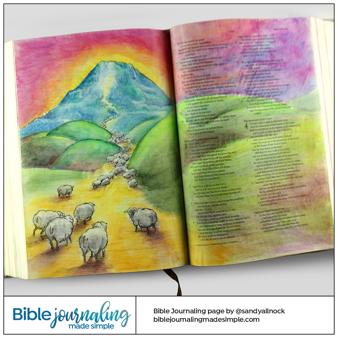 Bible Journaling Micah 4:6-7 Sheep gathering at Mount Zion