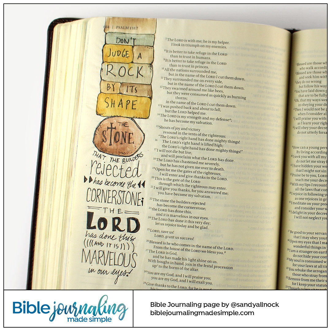 Bible Journaling Psalm 118:22-23 Cornerstone