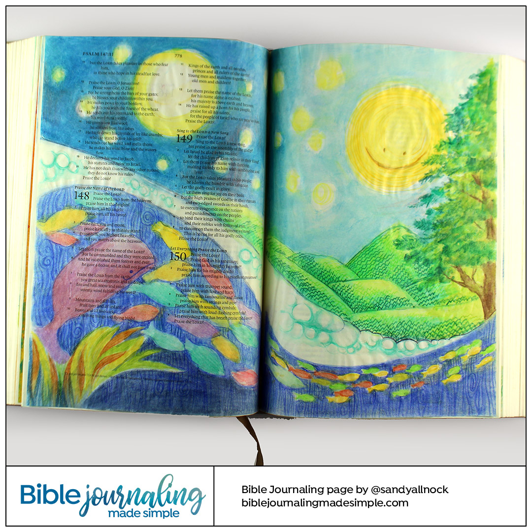 Bible Journaling Psalm 148:3-4 Whimsical scene