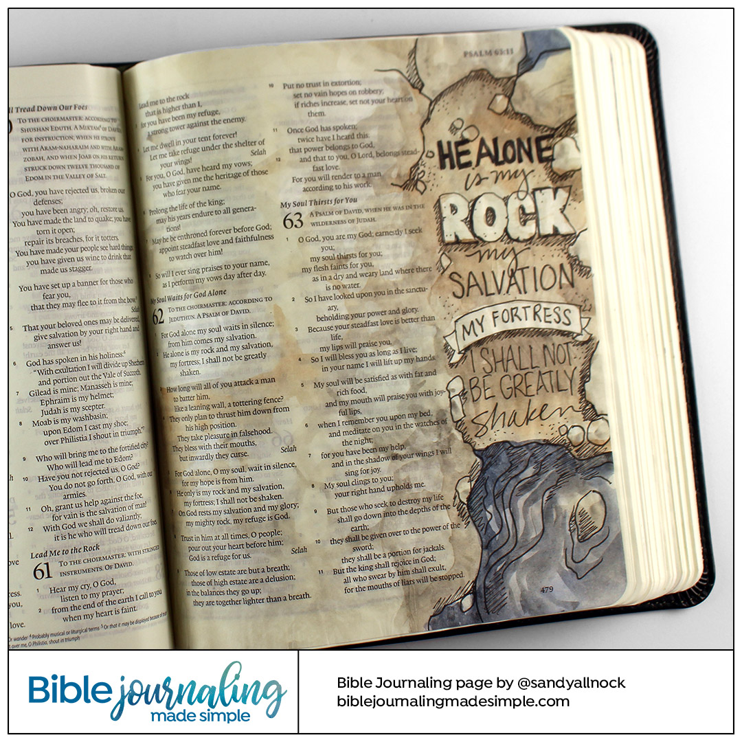 Bible Journaling Psalm 62:2 Unshaken