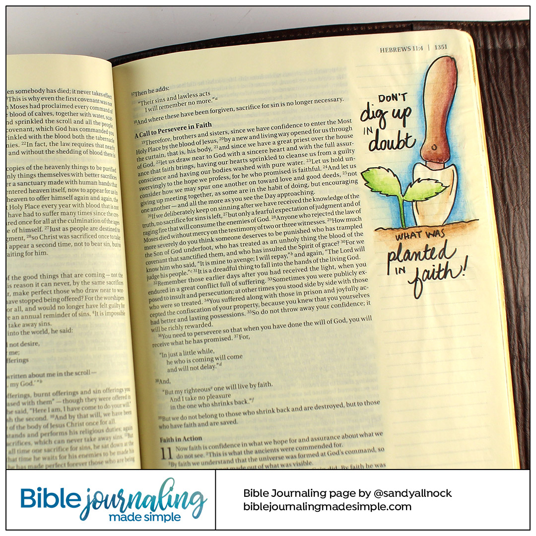 Bible Journaling Hebrews 10: Plant in Faith