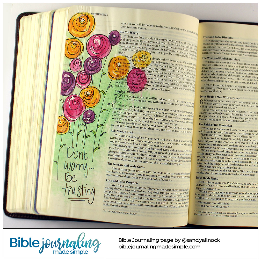Bible Journaling Matthew 6: Don't Worry, Be Trusting