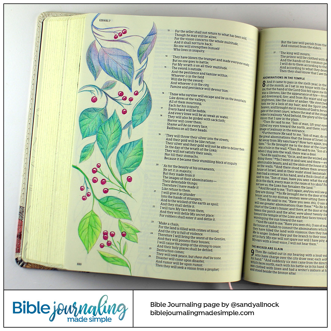 Rainbow Leaves Bible Journaling Page