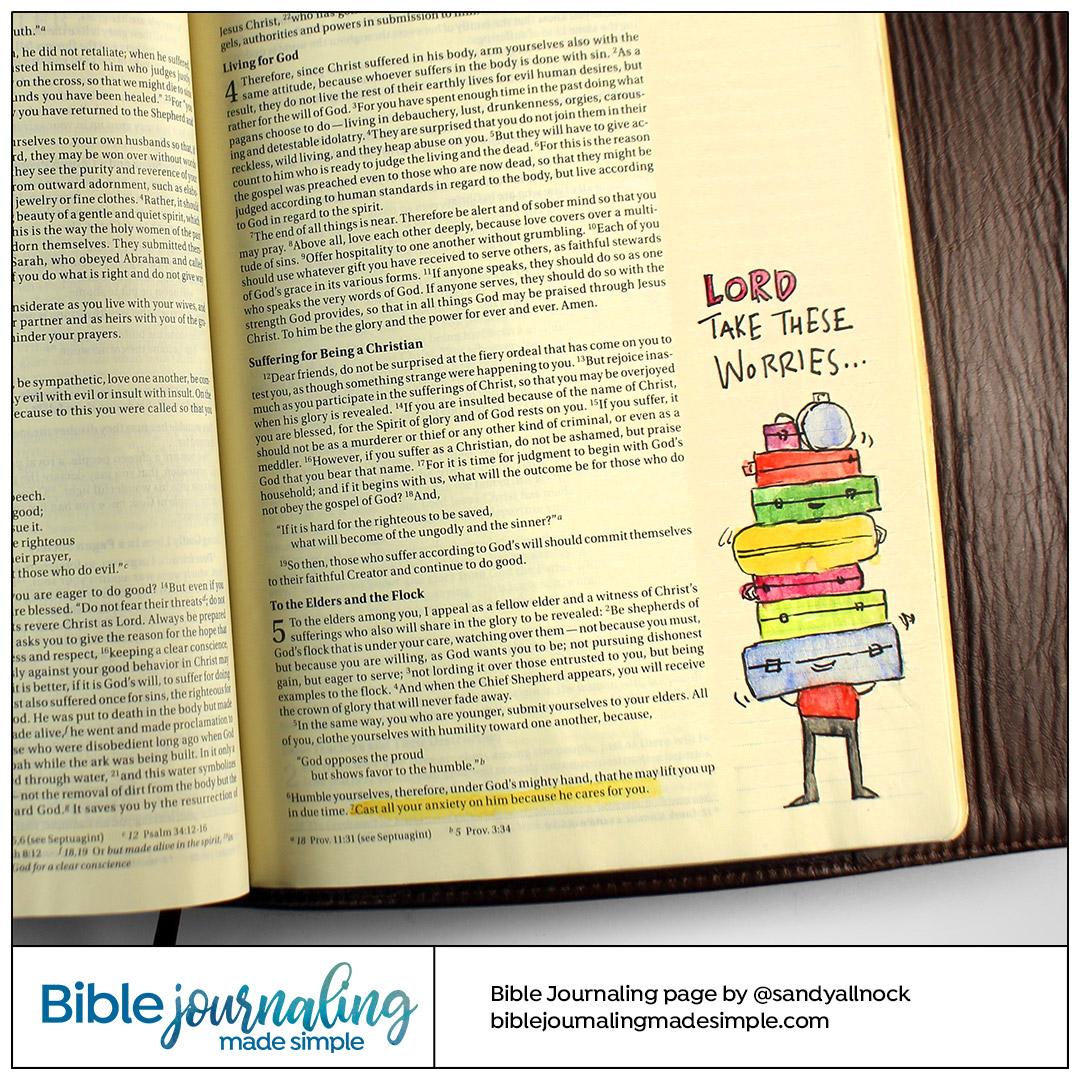 Bible Journaling 1 Peter 5:7 Take these worries