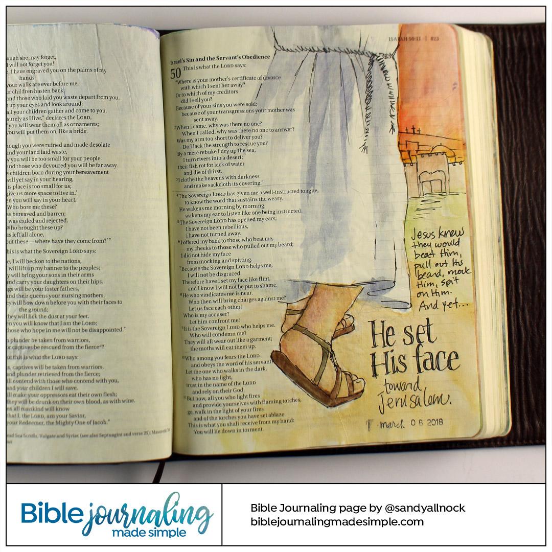 Bible Journaling Isaiah 50:7 Set His Face