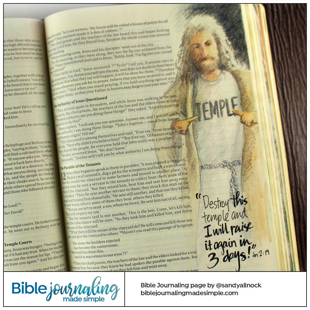 Bible Journaling John 2:19  He is the Temple