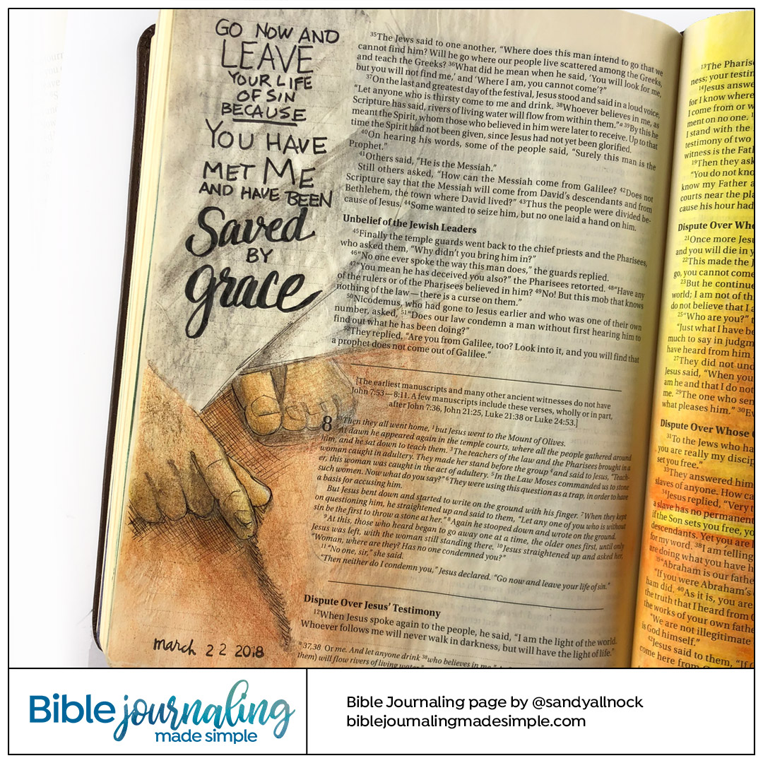 Bible Journaling John 8:8-11 Saved by Grace