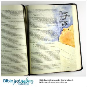 Bible Journaling Luke 2:7 Mary Wrapped the First Christmas Gift
