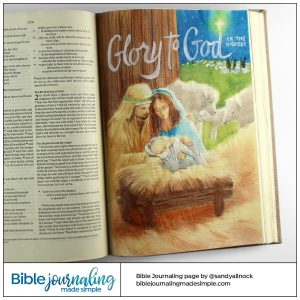 Bible Journaling Luke 2:14 Glory to God Manger Scene