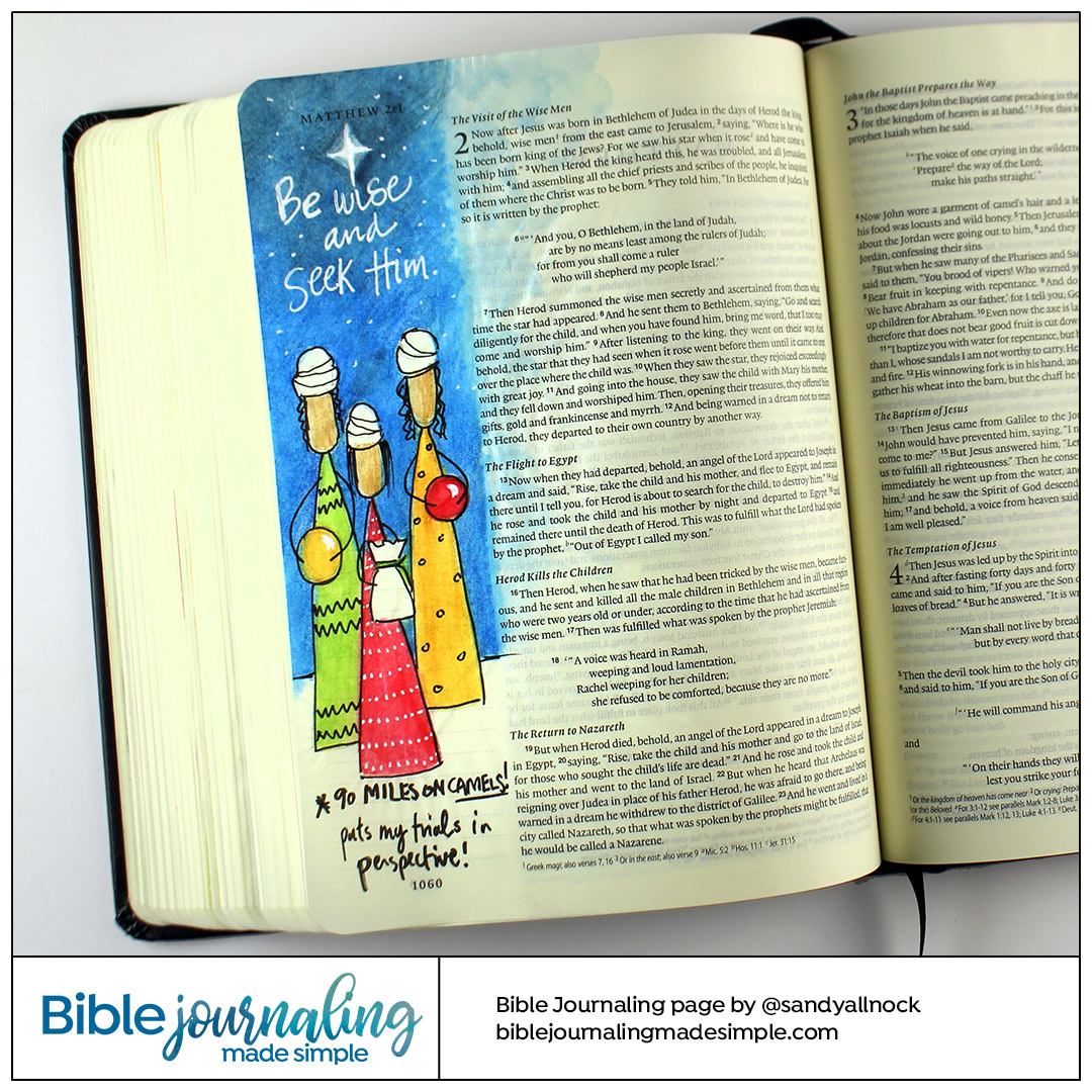 Bible Journaling Matthew 2:1-2 Be wise