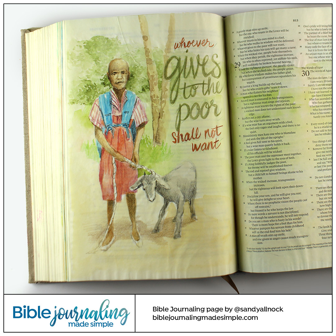 Bible Journaling Proverbs 28:27 Give to the Poor