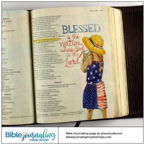 Bible Journaling Psalm 33:12 Blessed Nation