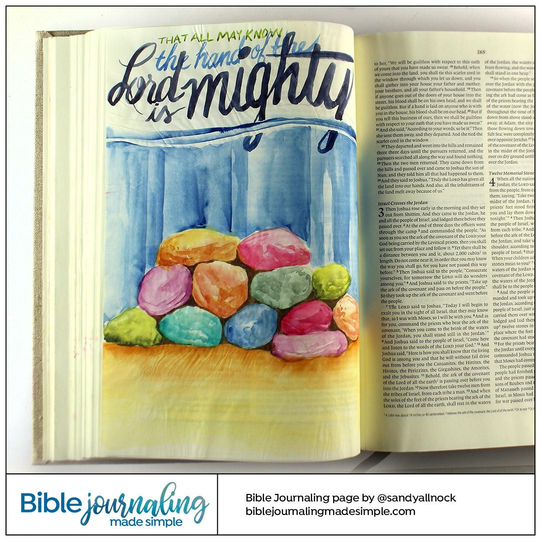 Bible Journaling Joshua 4:7 Memorial Stones