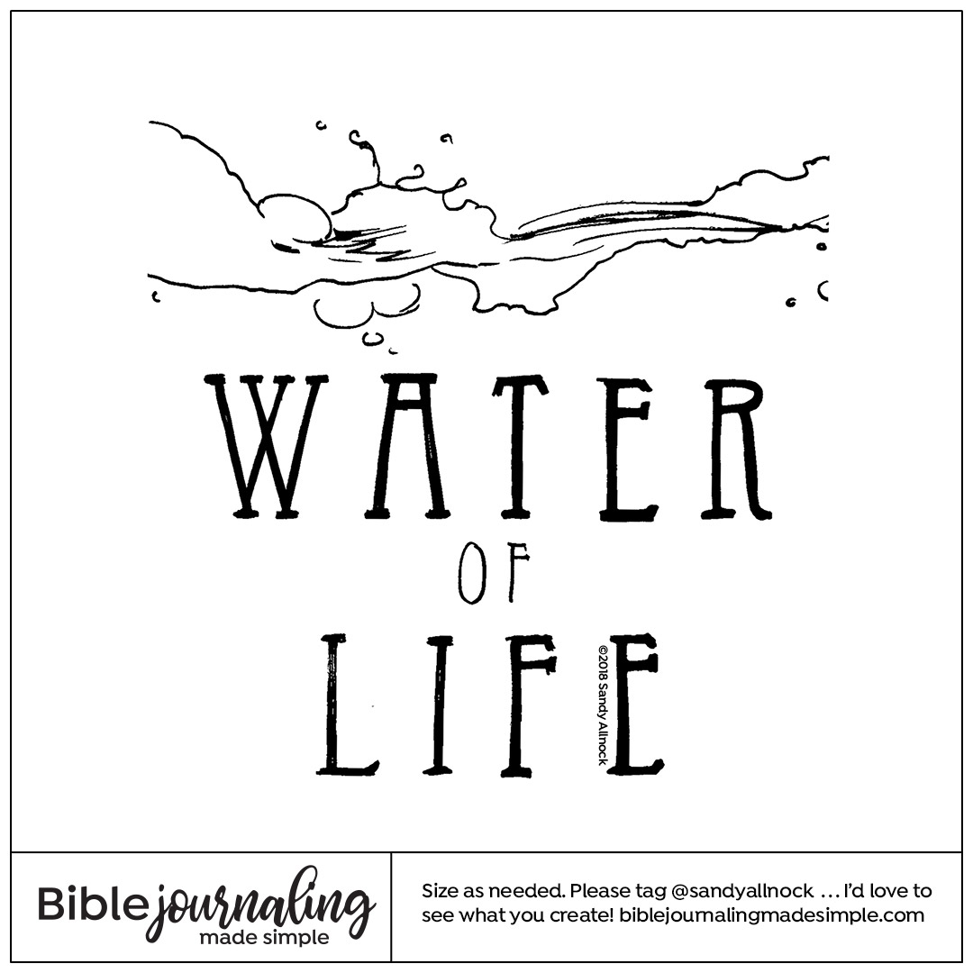 Downloadable Sketch of splashing water and text
