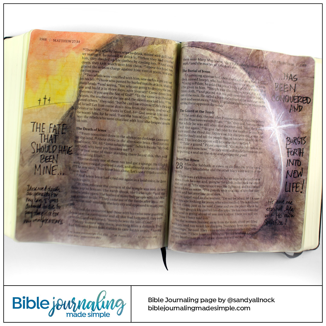 Bible Journaling Matthew 27-28 Crucifixion to Resurrection