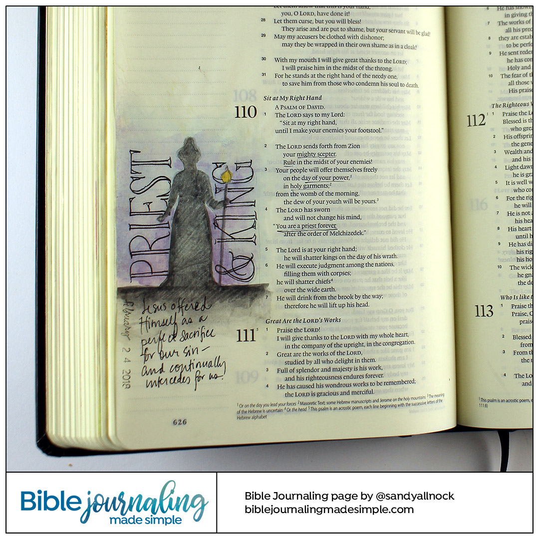 Bible Journaling Psalm 110:4 Priest and King