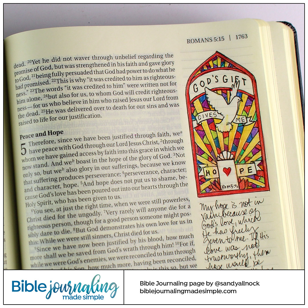 Bible Journaling Romans 5:5 Stained Glass