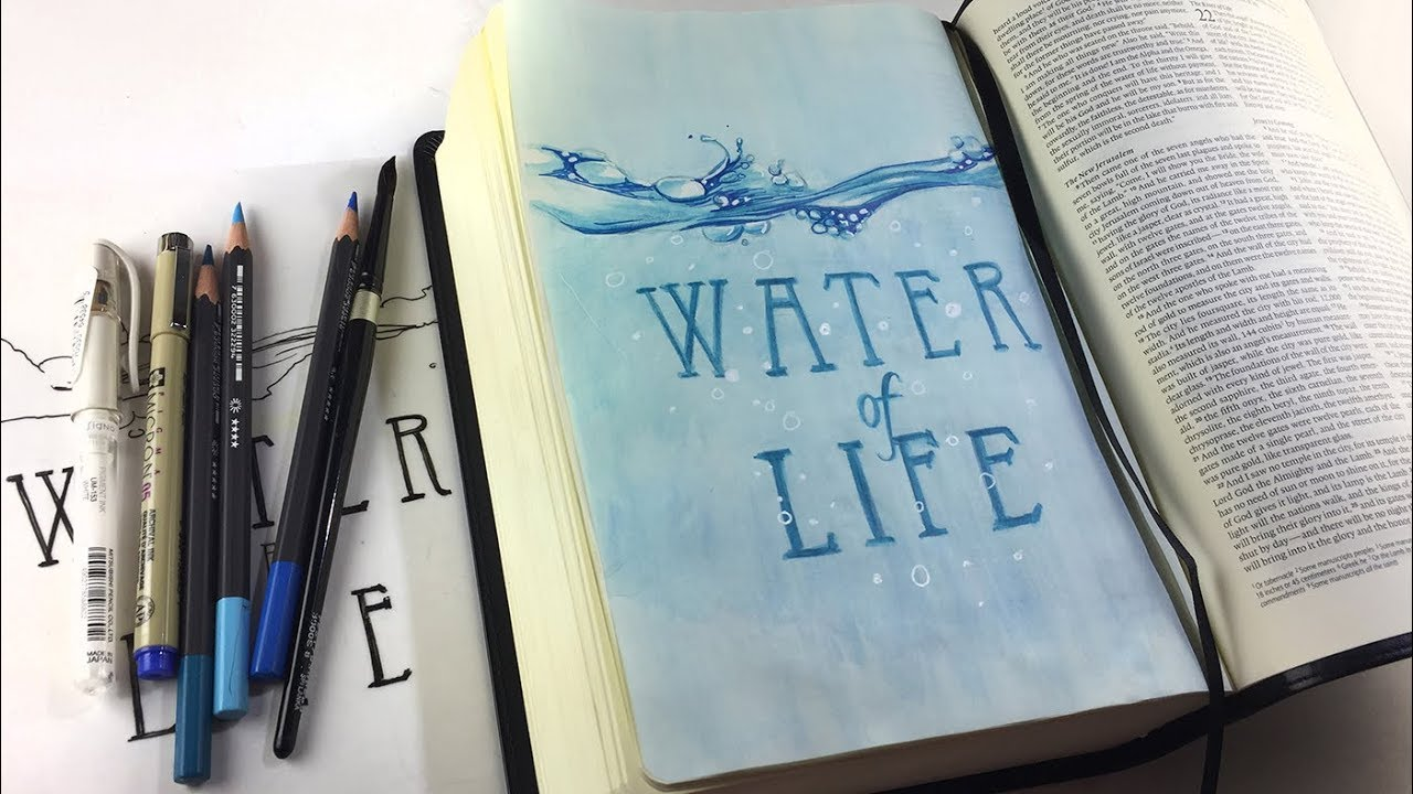 Bible Journaling Revelations 22:1 Water of Life, Interleaved Bible